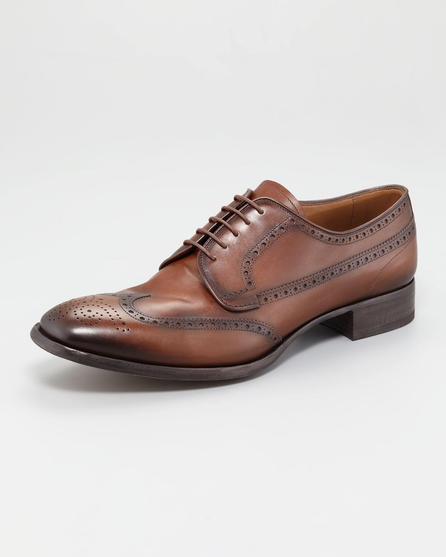 ea8fafee7f337 Men For Leather Vintage Prada Wingtip In Brown Oxford Lyst qOBCWz7