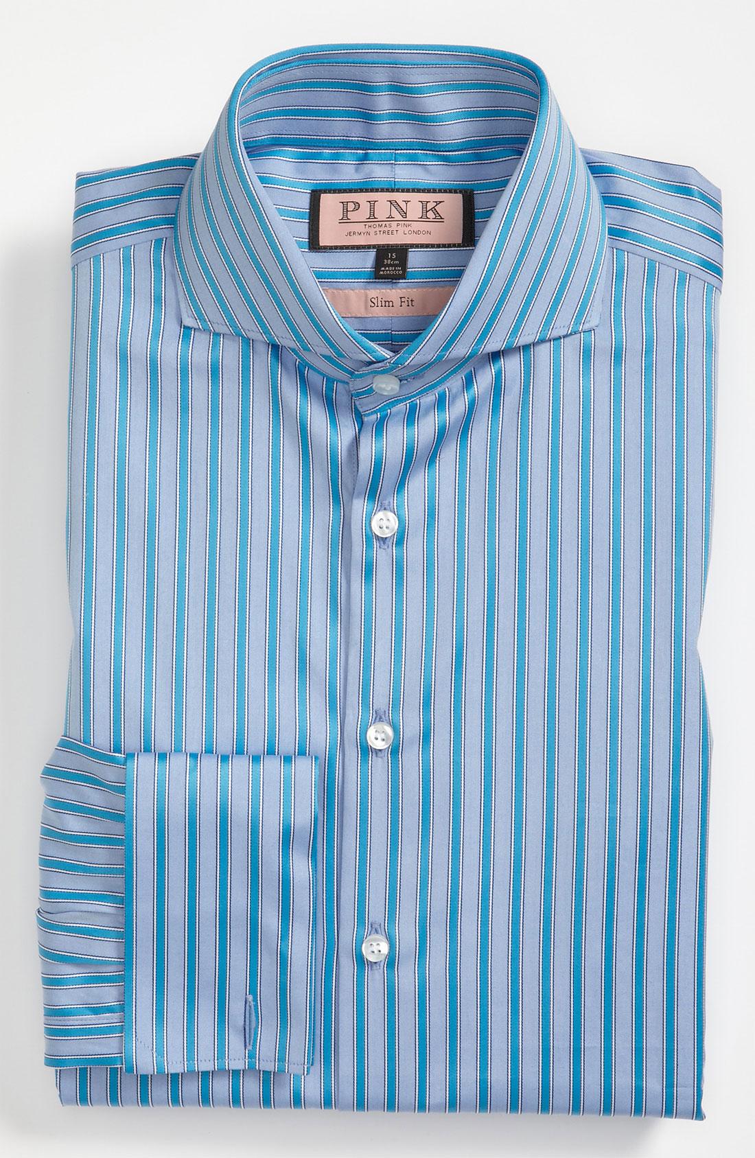 Thomas Pink Slim Fit Dress Shirt In Blue For Men Blue
