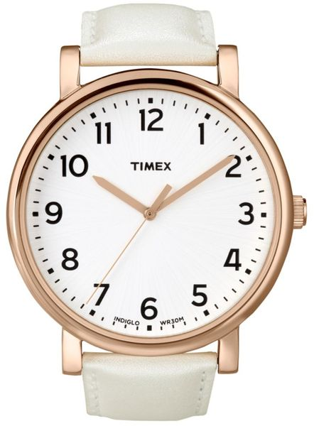 Timex® Womens Originals White Leather Strap 42mm T2n341um Macys Exclusive in White - Lyst