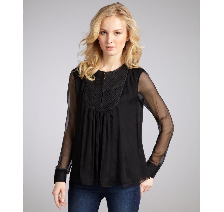 Long Sleeve Sheer Black Blouse 114