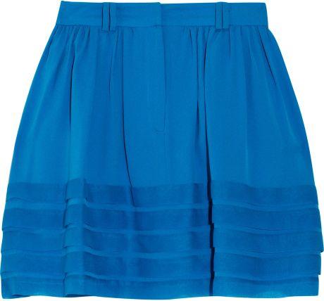 adam pleated silkgeorgette mini skirt in blue lyst