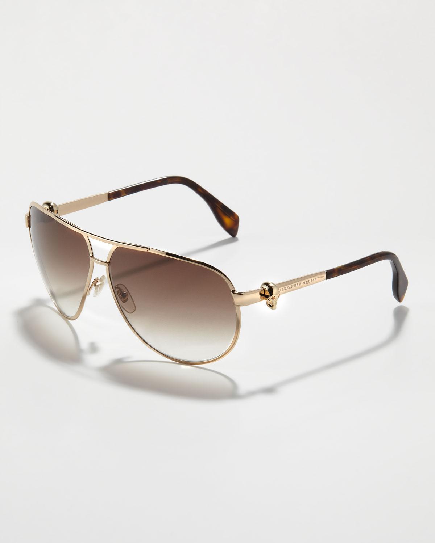 60dee01857a8 Lyst - Alexander McQueen Skull-Temple Aviator Sunglasses in Brown ...