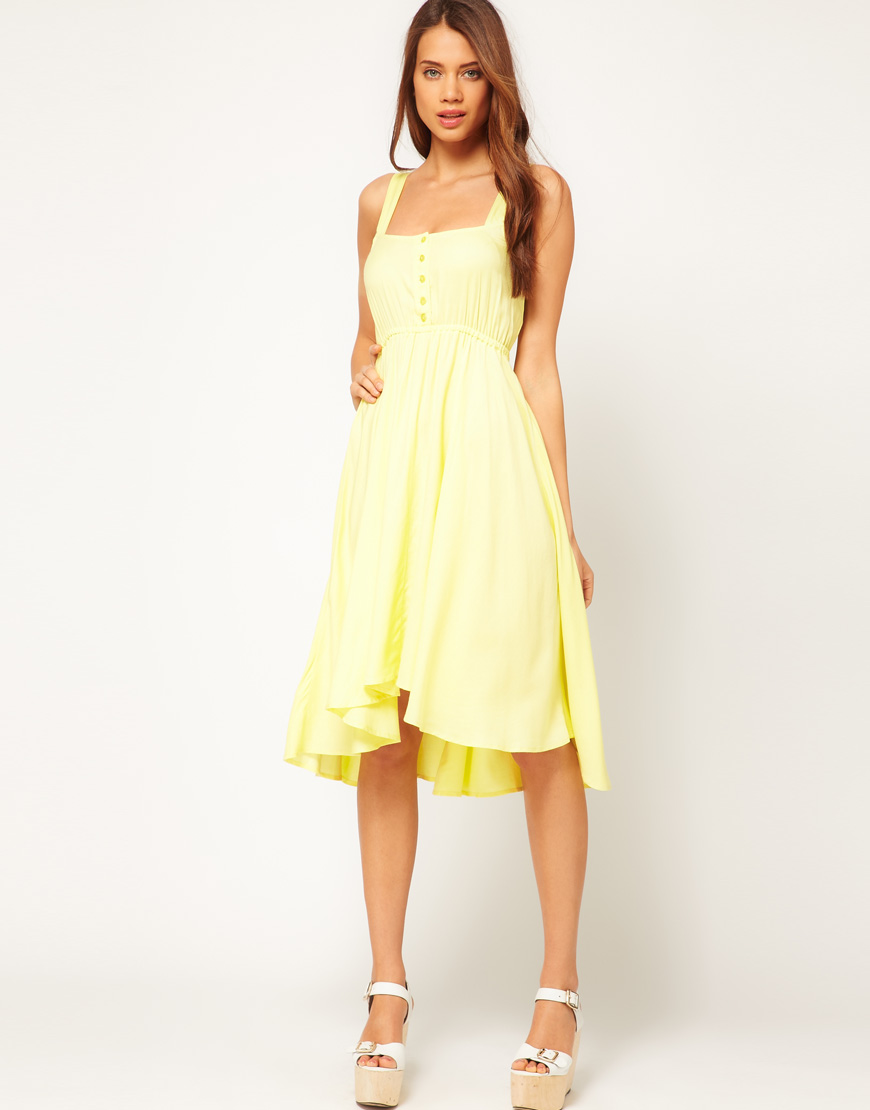 7cb4ae6e5b30 ASOS Midi Summer Dress with Bow Back in Yellow - Lyst