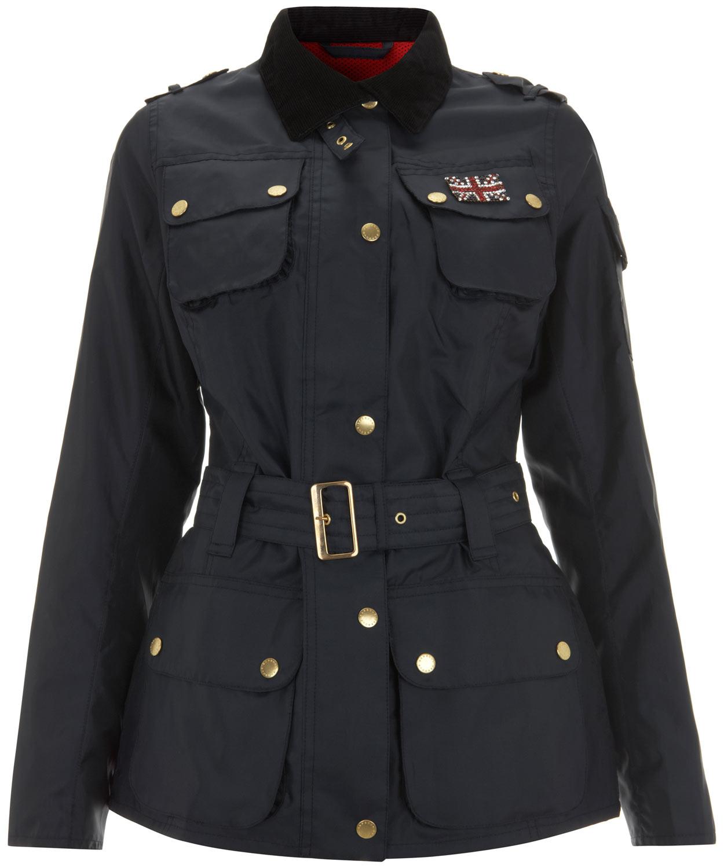 Barbour Navy Swarovski Union Jack International Jacket in Blue - Lyst 942bbeb40