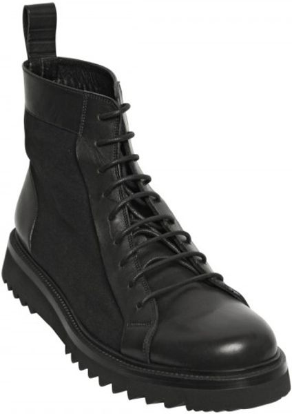 homme canvas and leather boots in black for lyst