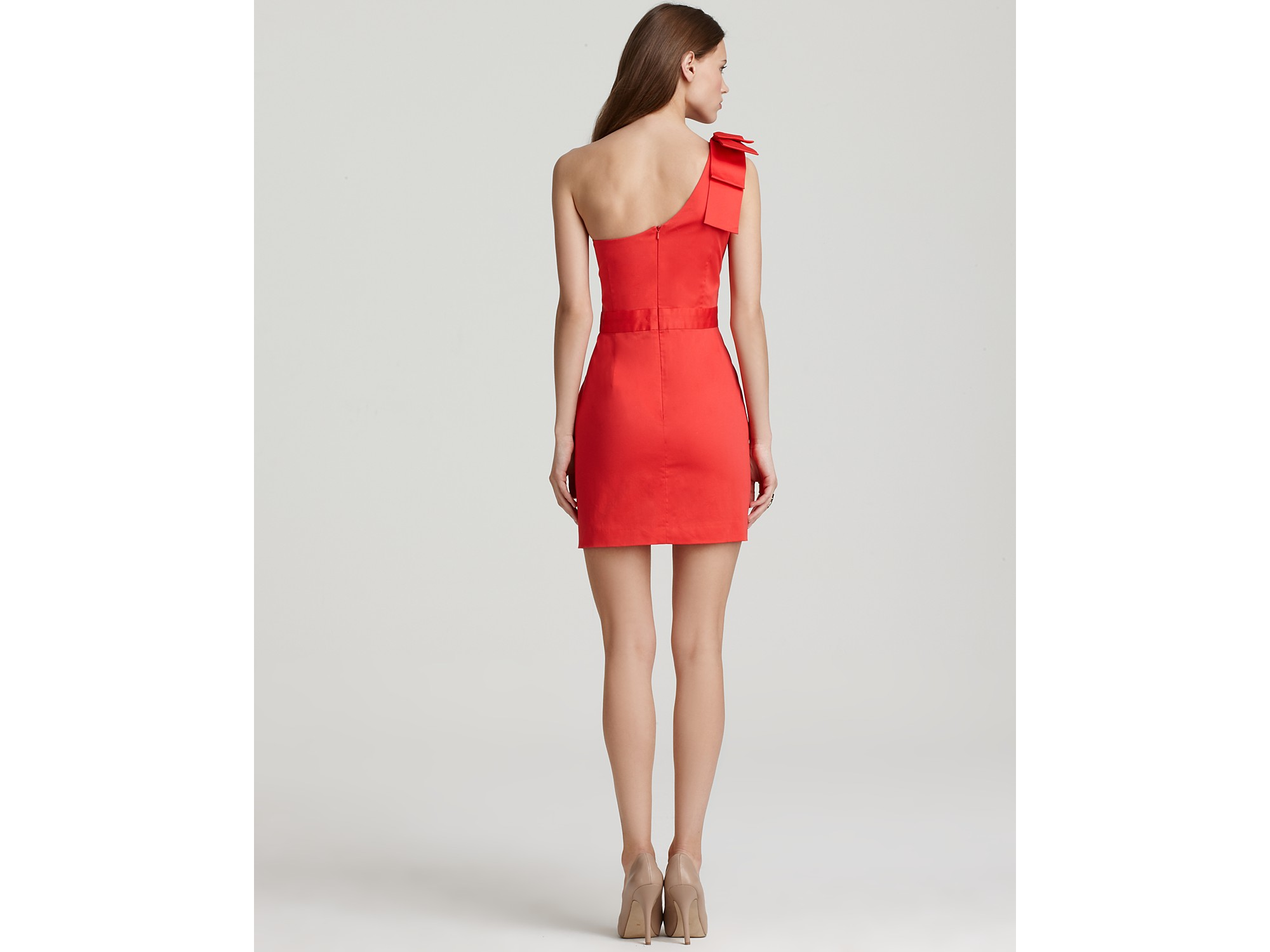 1c4e737a953 French Connection One Shoulder Dress Wizard Bow in Red - Lyst