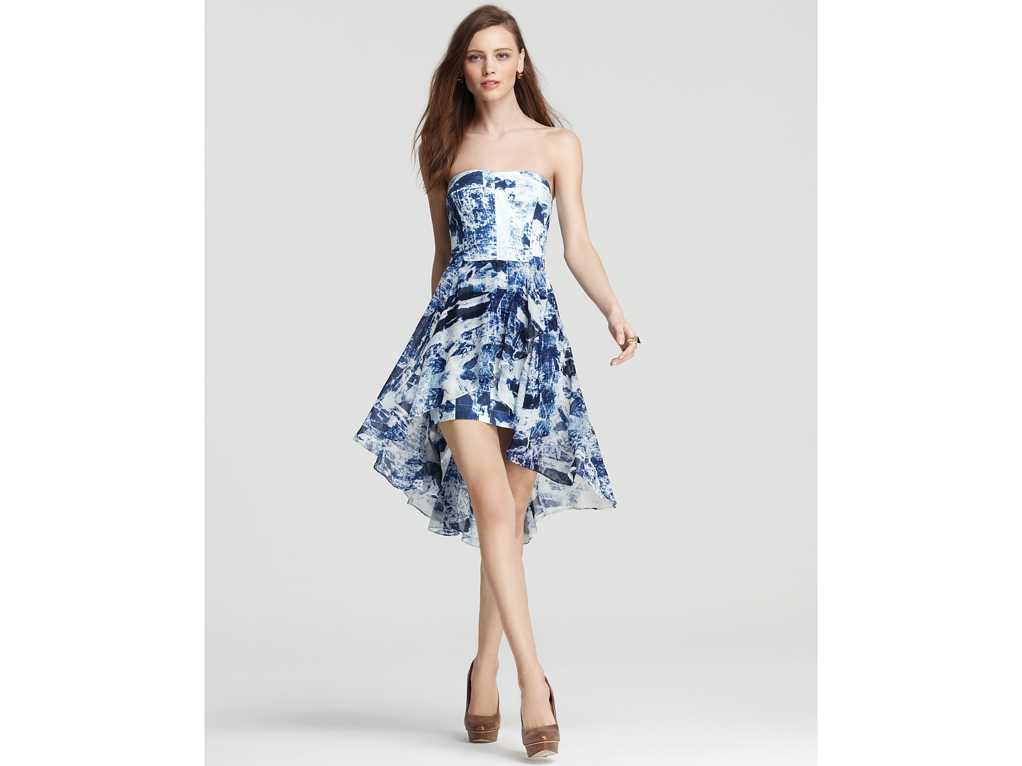 Lyst French Connection Strapless Dress Woodblock Wonder