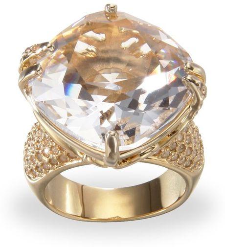 Swarovski Crystal Rose Ring In Gold (rose)