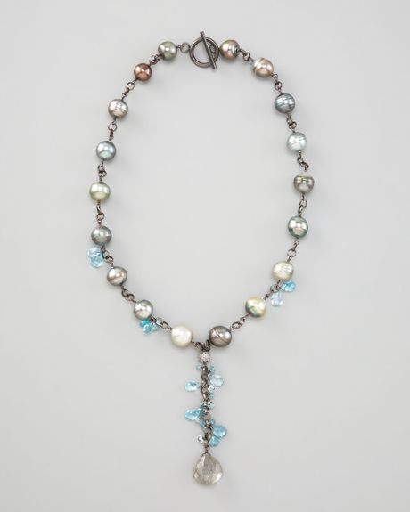 Wendy Brigode Pearl Ydrop Necklace In Silver Grey Pearl