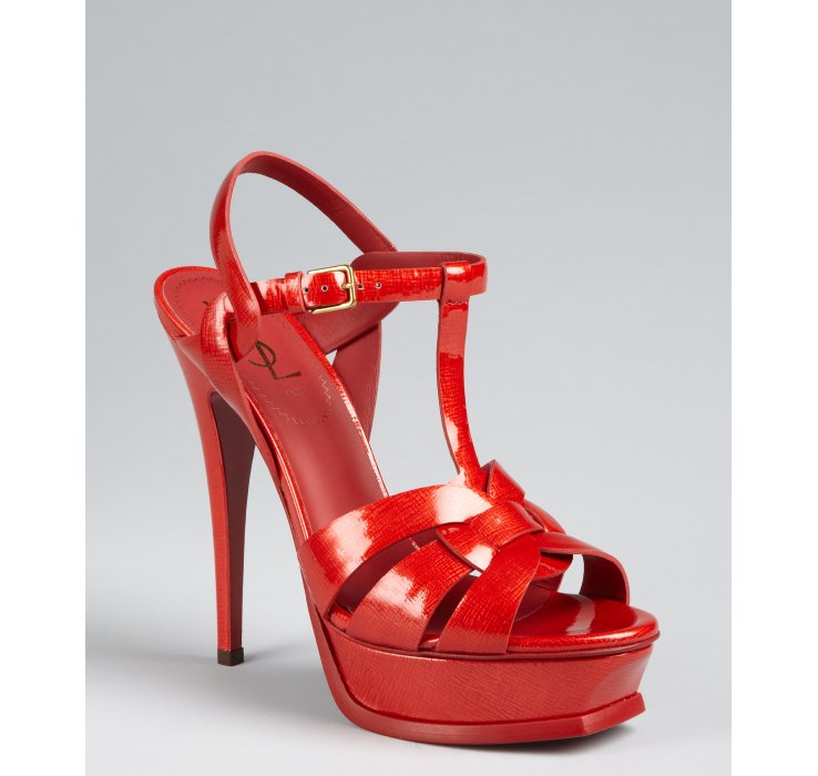 Saint Laurent Red Patent Leather Tribute 105 Strappy