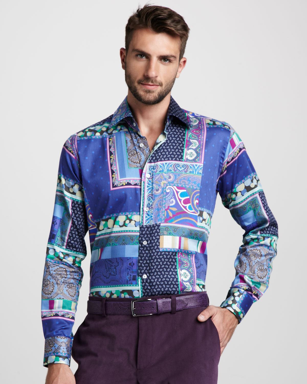 Lyst etro multi paisley print shirt in blue for men for Etro men s shirts