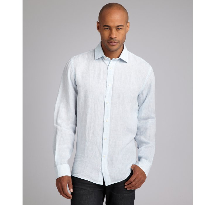 Hickey Freeman Linen Point Collar Dress Shirt In Blue For