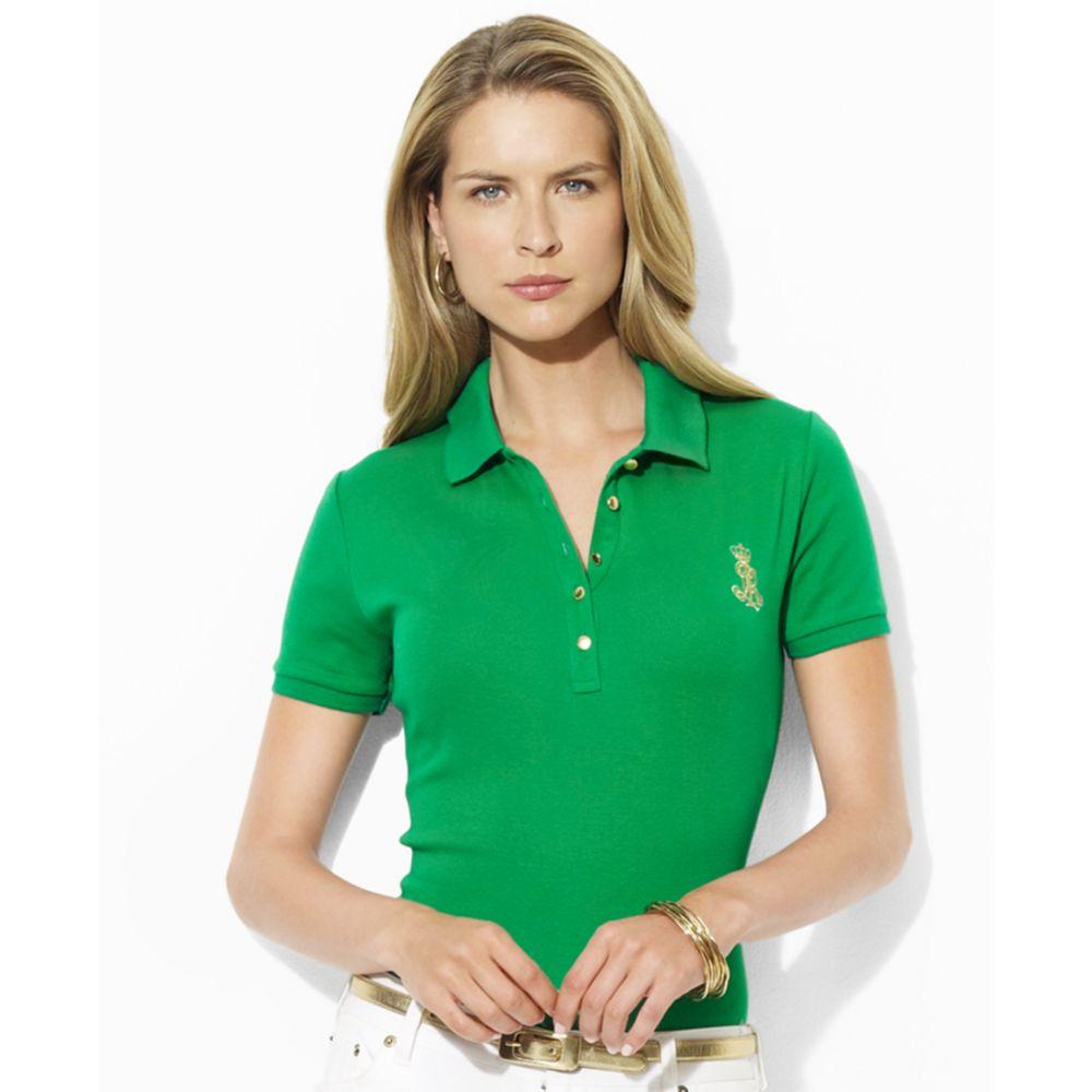 ac519fd9a64 Lauren by Ralph Lauren Jenna Short Sleeve Polo in Green - Lyst
