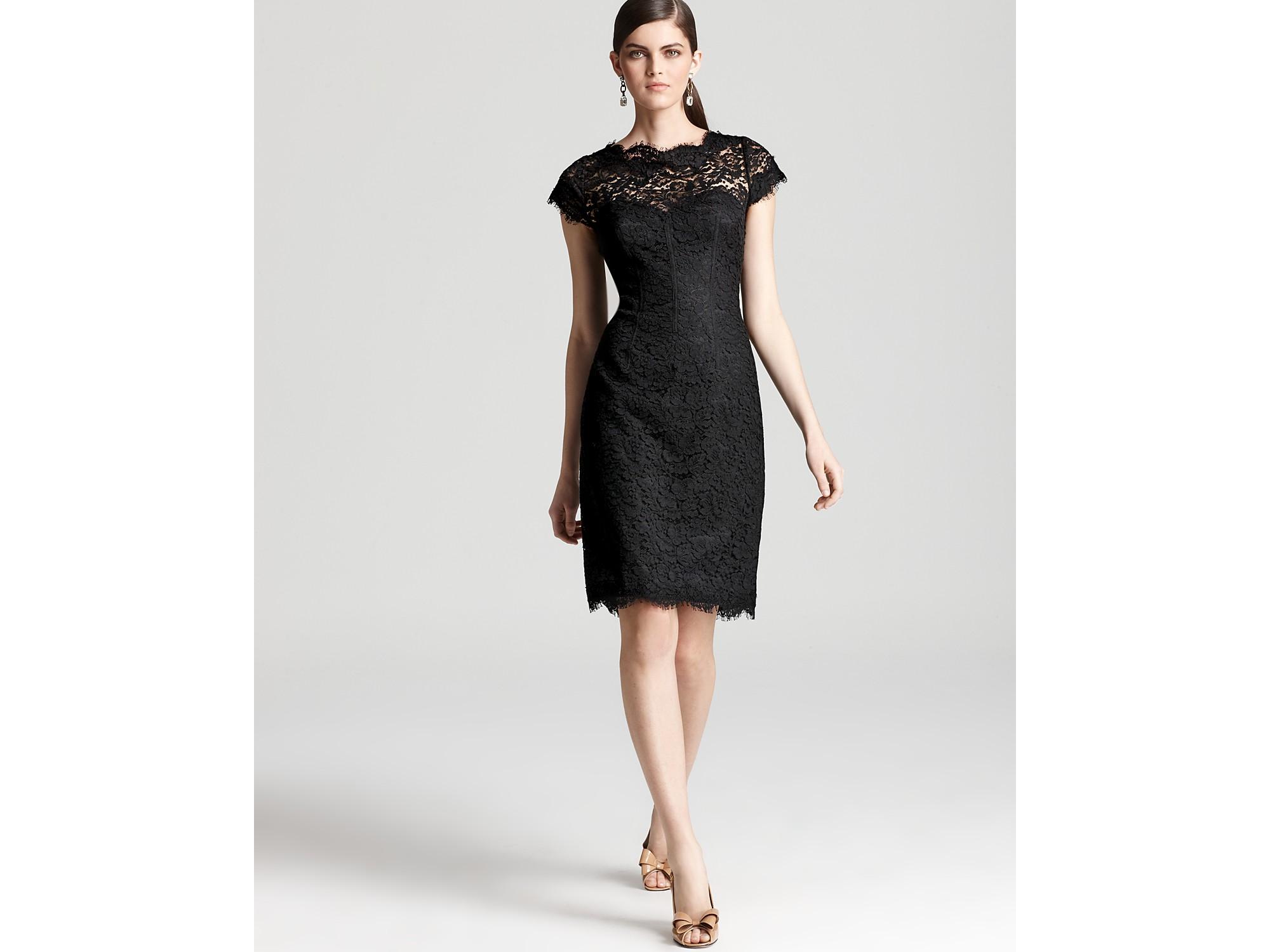 Ml monique lhuillier Lace Dress Cap Sleeve in Black | Lyst
