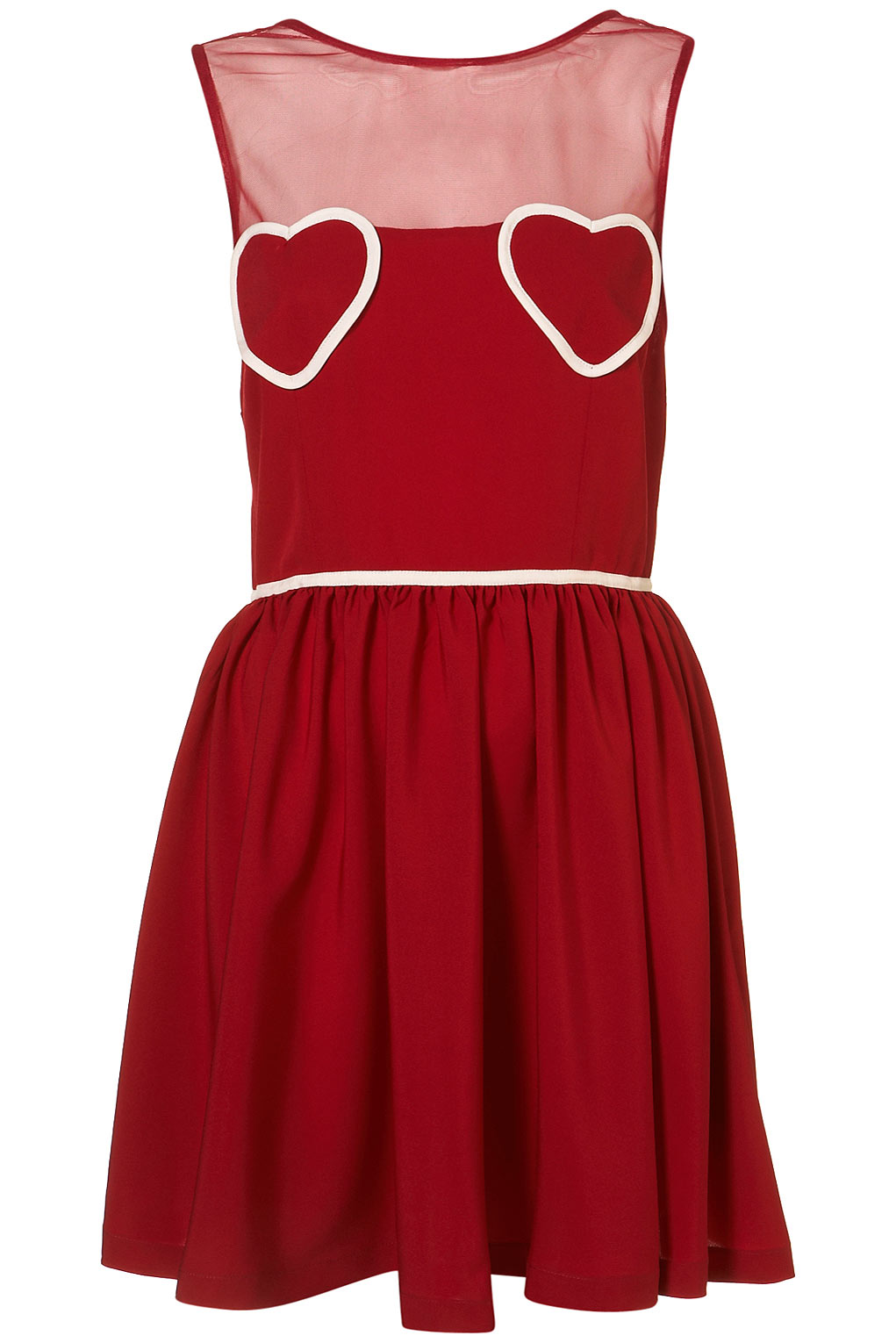 Topshop Heart Mesh Flippy Dress in Red | Lyst