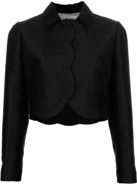 Valentino Cropped Jacket in Black