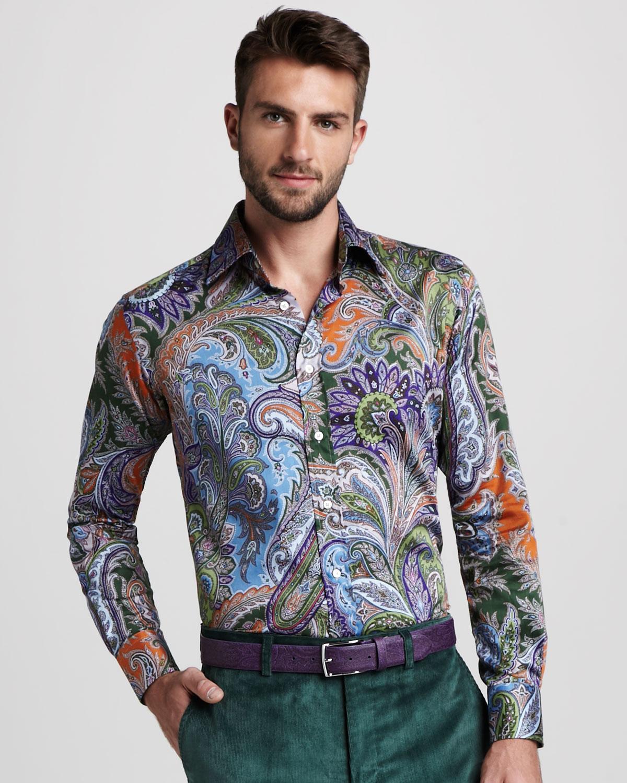 Etro paisley pprint shirt in multicolor for men multi lyst for Etro men s shirts