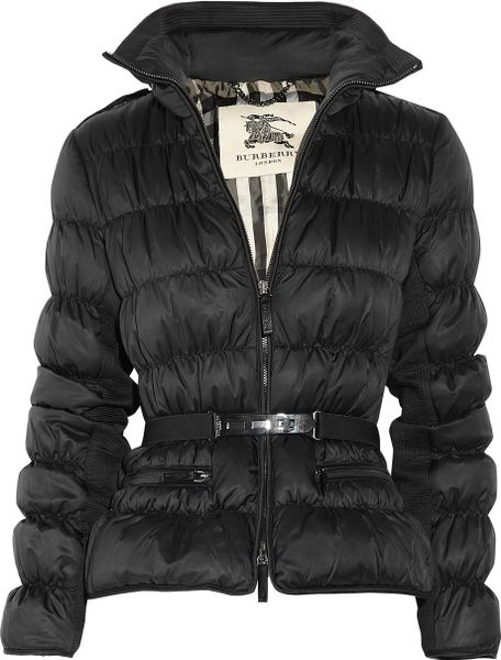 Burberry Belted Hooded Padded Shell Jacket in Black - Lyst