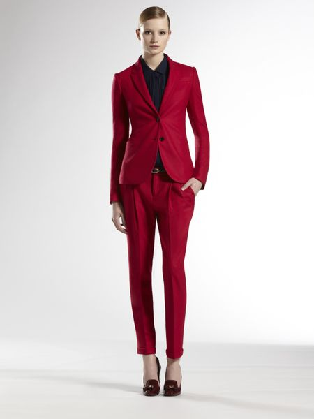 Gucci Wool Pants in Red (raspberry) - Lyst