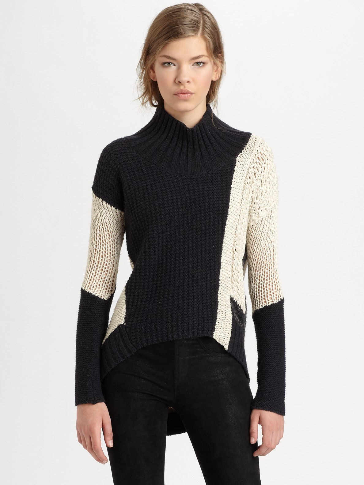 Lyst Helmut Lang Helmut Colorblock Sweater In Natural