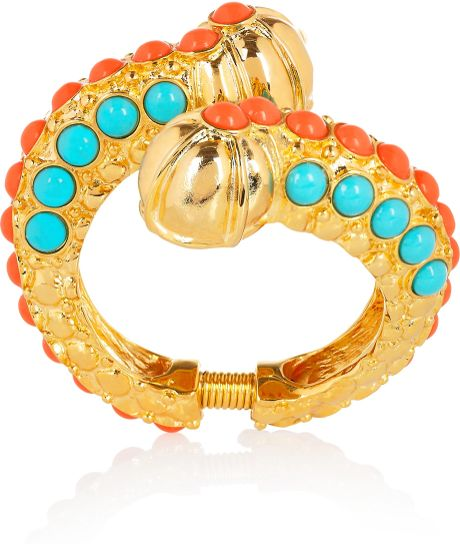 Kenneth Jay Lane 22karat Goldplated Cabochon Caterpillar Bangle in Gold