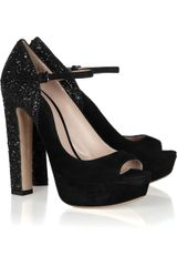 Miu Miu Glitterfinish Suede Mary Jane Pumps