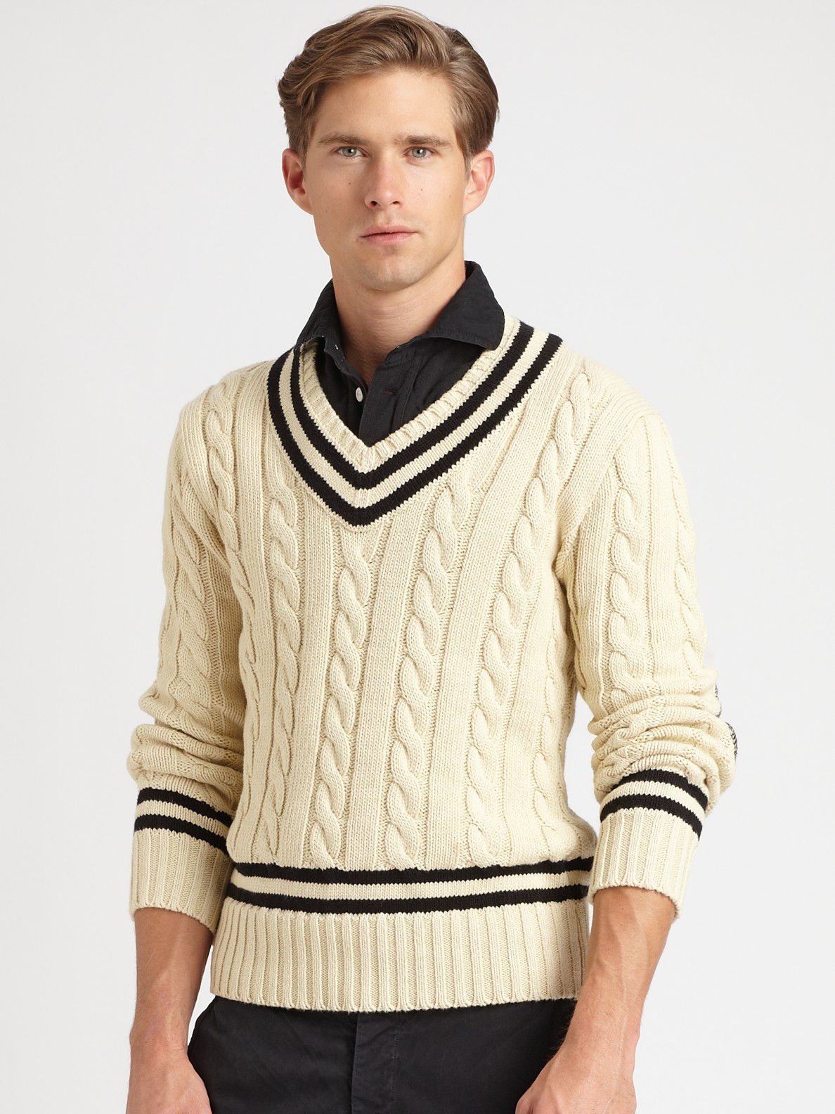 54e7ae7d8f400 ... best price lyst polo ralph lauren cabled v neck cricket sweater in  natural 3eca4 c0238