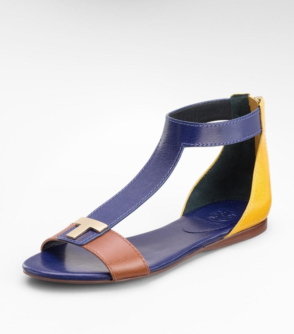 Tory Burch Casey Flat Sandals In Blue Lyst