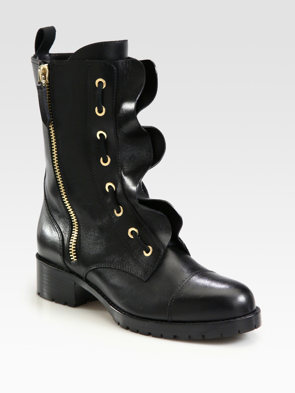 Valentino Ruffled Leather Motorcycle Boots In Black - Lyst-1917