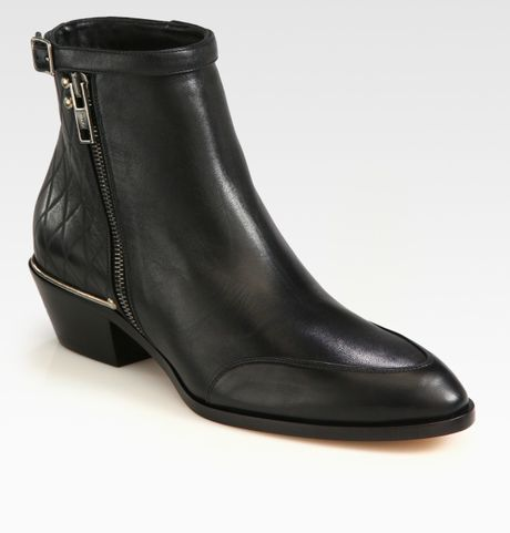 chlo 233 quilted leather ankle boots in black lyst