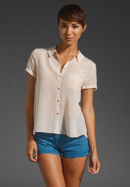 Elizabeth And James Rosie Shirt in Beige (cameo) - Lyst