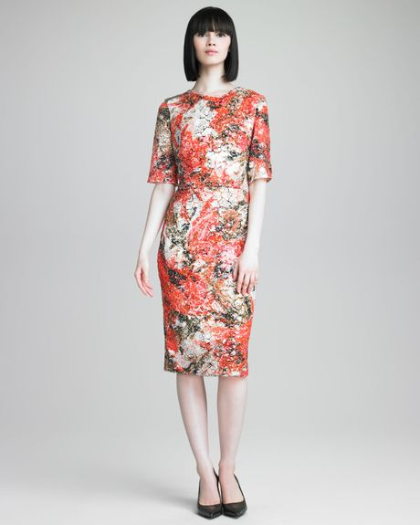 Erdem Sequined Floralprint Dress in Orange (orange white)