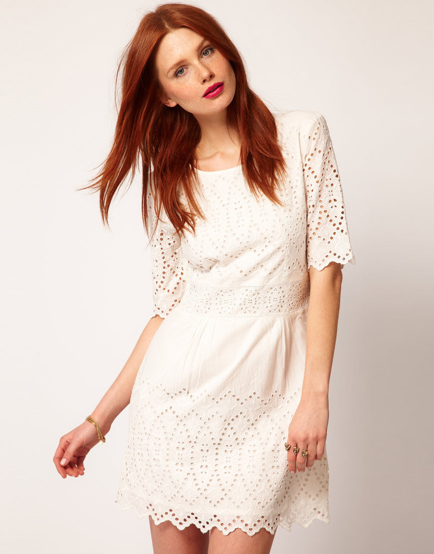 Whistles lisa embroidered dress white in lyst