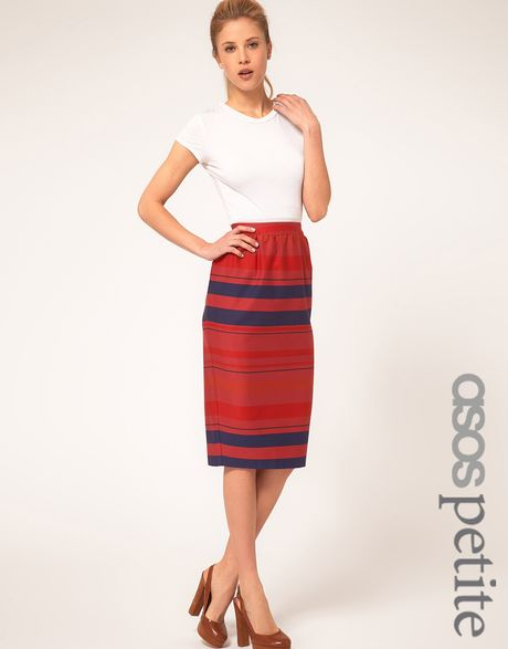 Asos Collection Stripe Midi Skirt in Blue (stripe) - Lyst