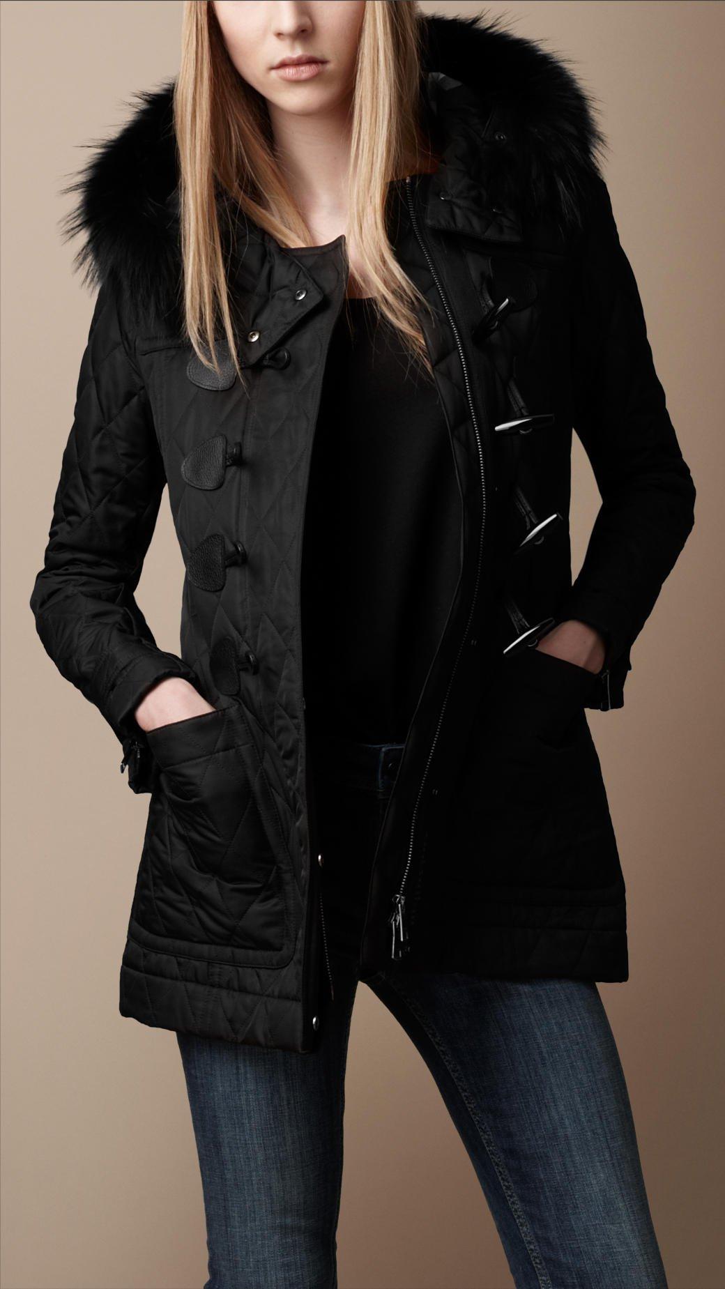 Burberry brit Fur Trim Quilted Duffle Coat in Black | Lyst