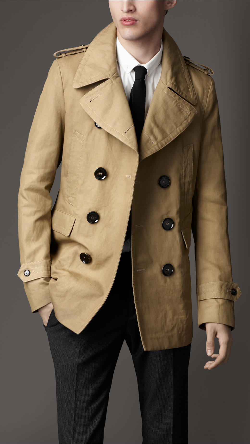 Burberry Heritage Pea Coat in Natural for Men | Lyst