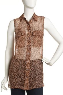 Equipment Signature Sleeveless Leopardprinted Silk Blouse - Lyst
