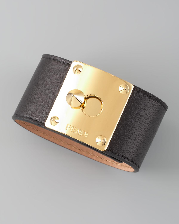 Lyst Fendi Leather Bracelet In Black
