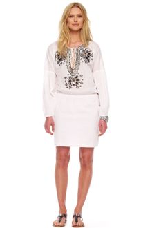 White Peasant Dress on Michael By Michael Kors White Embellished Cotton Peasant Dress