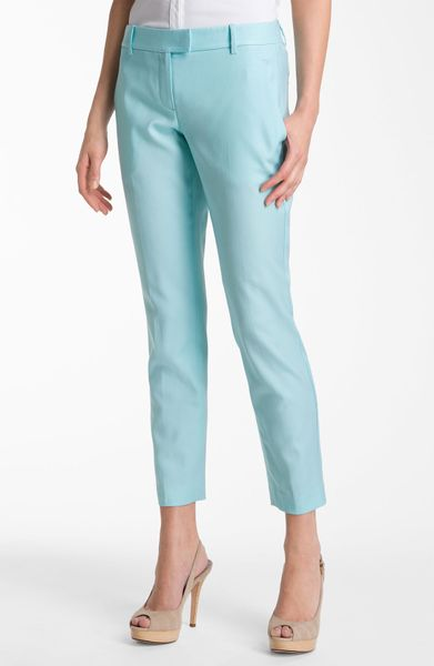 Theory Sienna Wool Stretch Slim Leg Ankle Pants in Blue (seagrass)