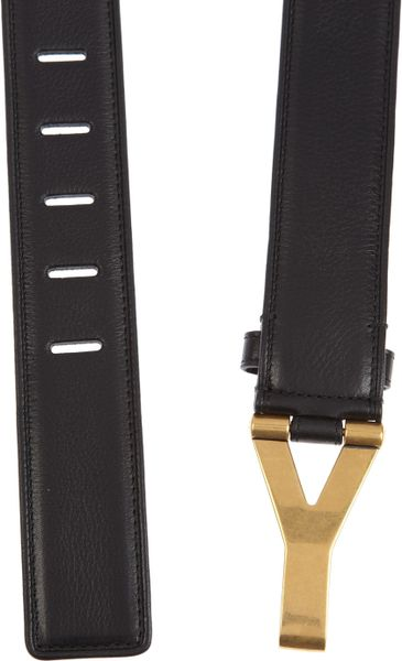 Saint Laurent Chyc Leather Waist Belt In Black Lyst