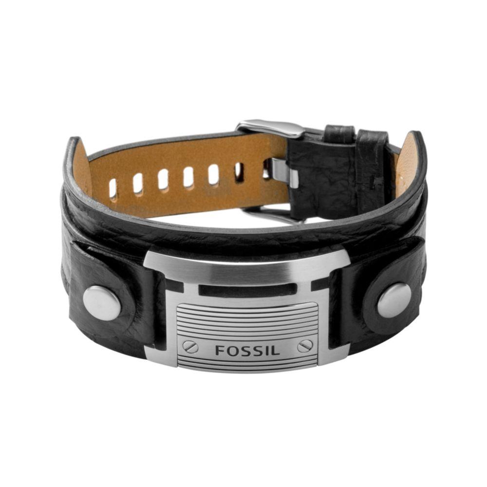 2787df3ce Fossil Stainless Steel Black Leather Bracelet in Black for Men - Lyst