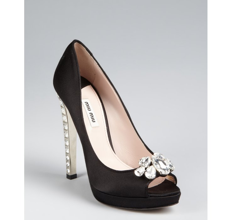 discount wide range of recommend cheap online Miu Miu Satin Peep-Toe Pumps wPmmanD2S