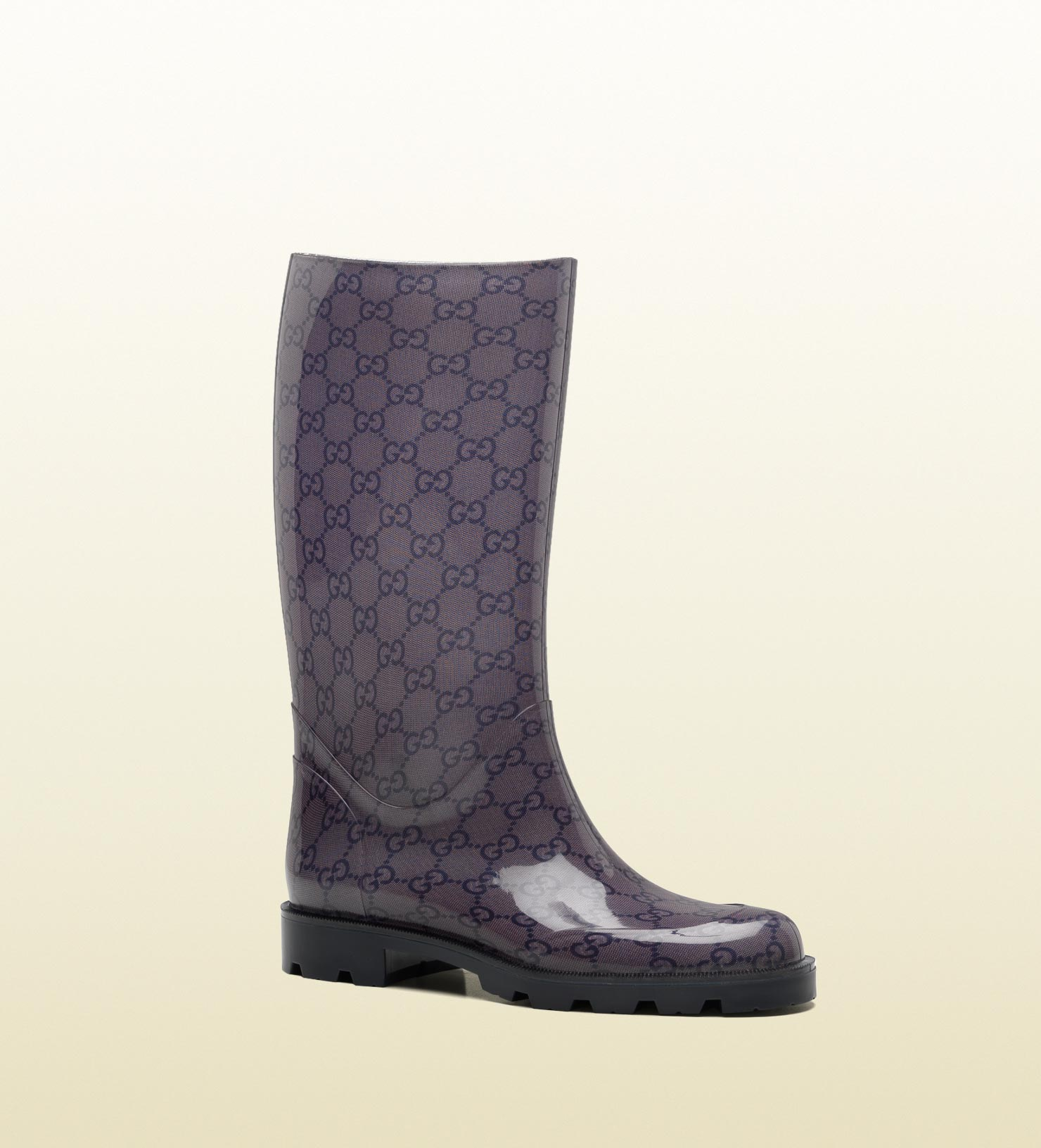 gucci flat boot with gucci script logo in black lyst