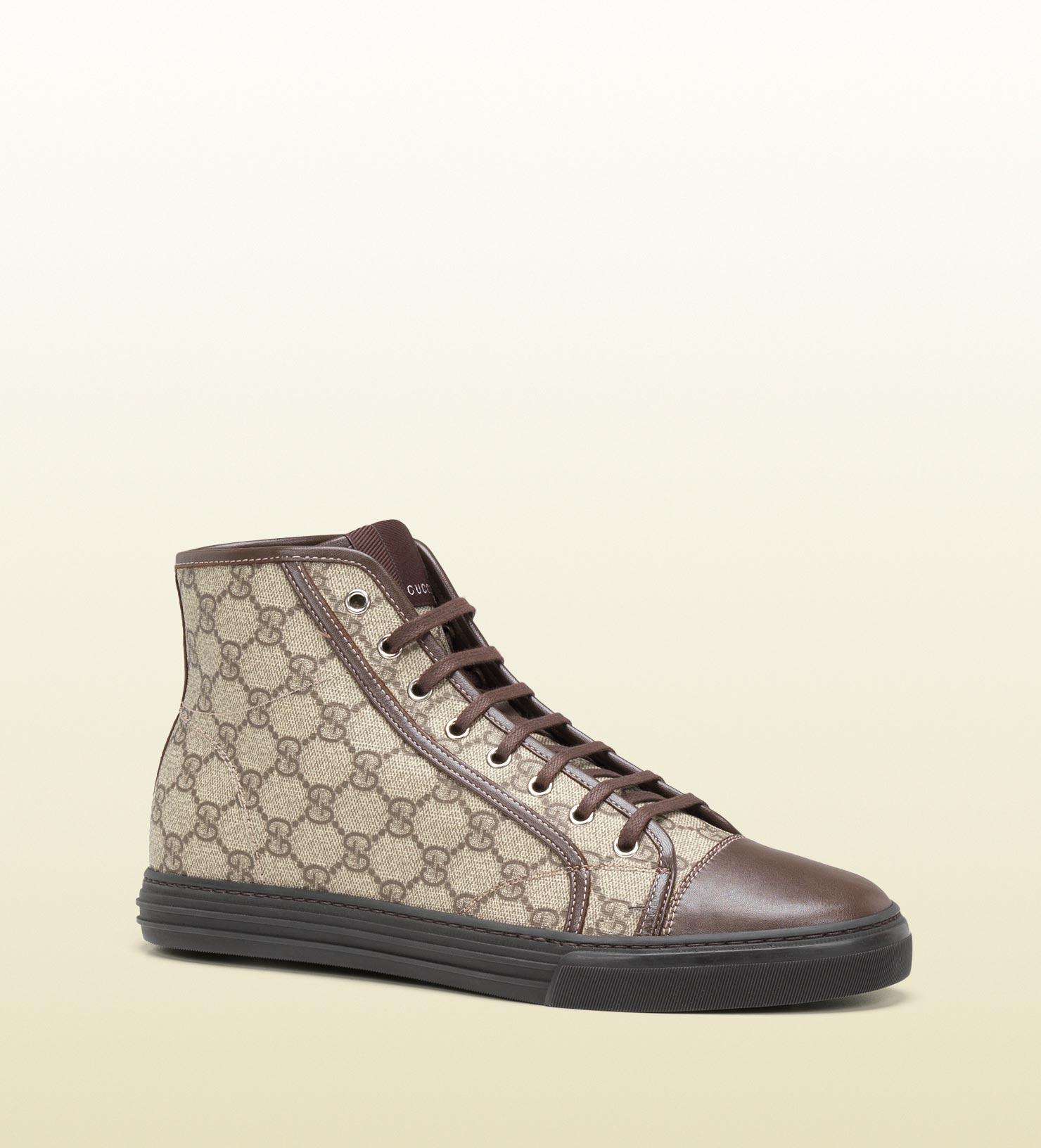 gucci hi top lace up sneaker in brown for men beige lyst. Black Bedroom Furniture Sets. Home Design Ideas