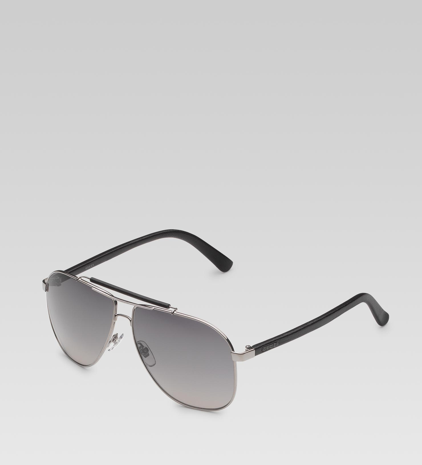 84735fac31 Gucci Aviator Sunglasses with Leather Brow Bar and Temples with ...