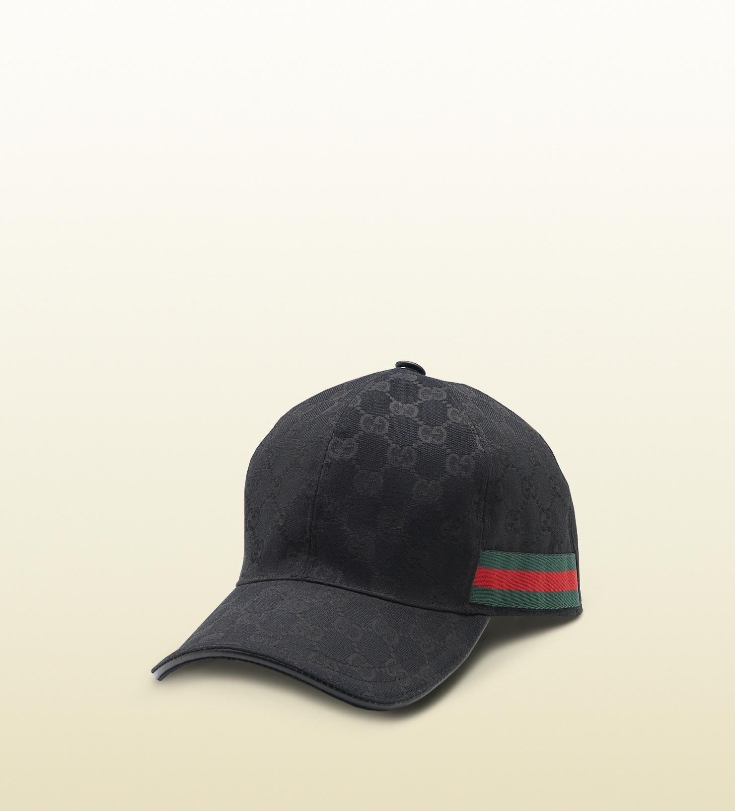 gucci original gg canvas baseball hat with web in black