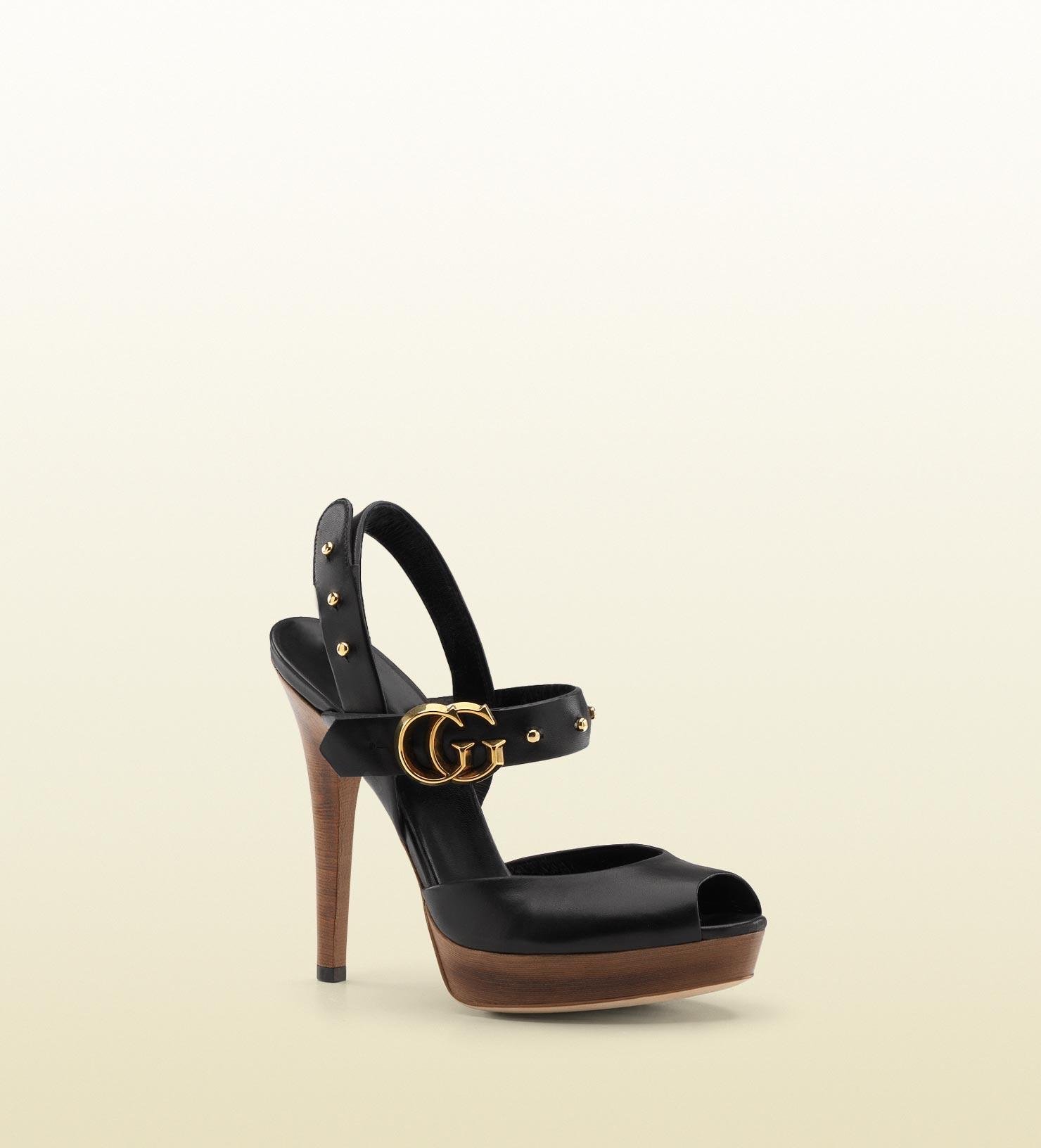 e409fd80b Gucci Gg Running Double G Slingback High Heel Platform Sandal in ...