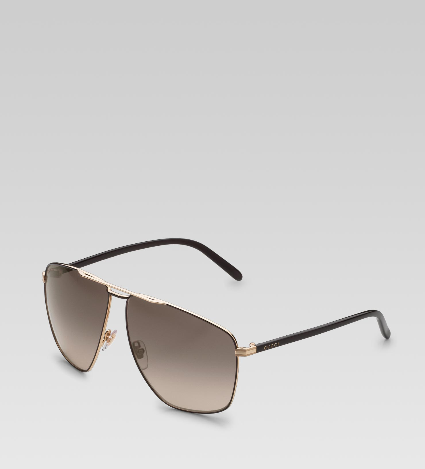 96810893f92 Lyst - Gucci Medium Rectangle Frame Sunglasses with Gucci Logo On ...