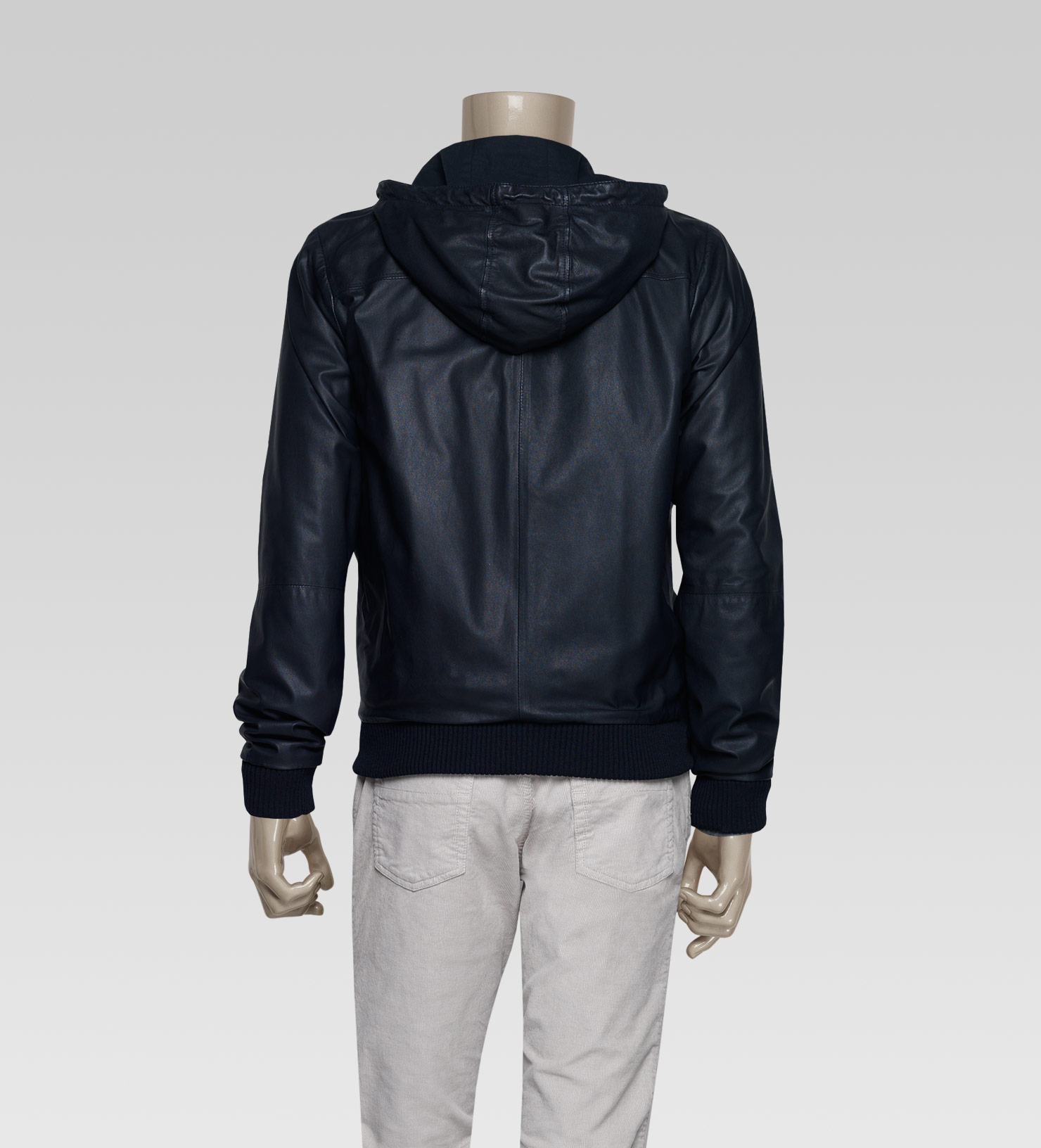 Gucci Hooded Bomber Jacket in Blue for Men | Lyst